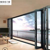 现代铝合金折叠门75豪华阳台开放式间断隐形推拉式隔断伸缩门定制
