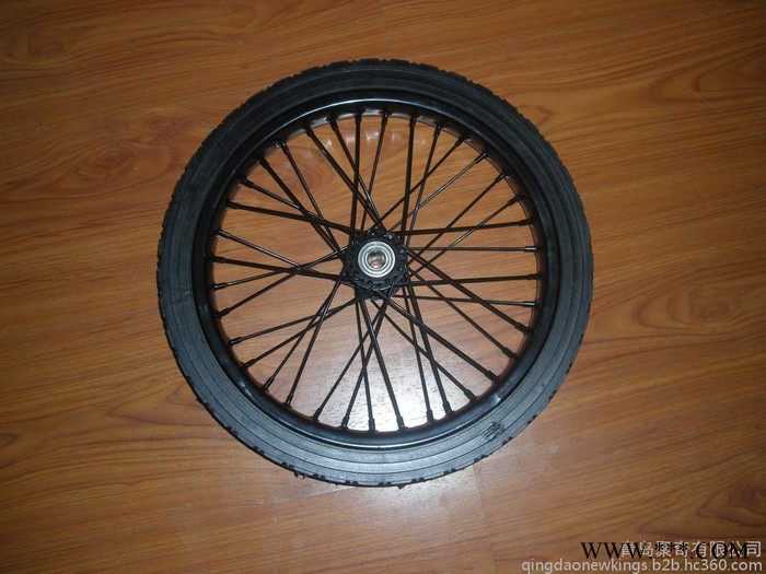 **:16x1.75出口钢圈轮子 电泳黑色辐条圈 空心橡胶轮 实心橡胶轮